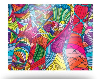 Superimposed Trippy Line Art Metal Print, Aluminum Abstract Art Print