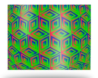Green Cubes Metal Print, Neon Wall Art Aluminum Print