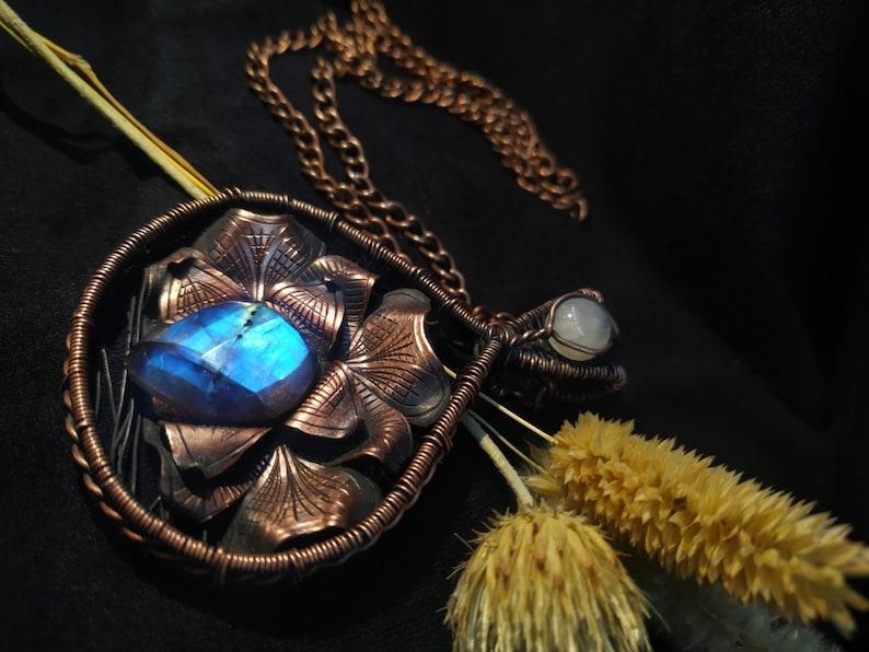 Custom Wire Wrap Necklet Birthstone Copper Chain Handmade Boho Gemstone Necklace Unique Gift Faced Cut Labradorite Pendant w Moonstone