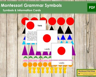 Montessori Grammar Symbols and 3-Part Cards - Montessori Language & Grammar - Printable Montessori Materials - Digital Download