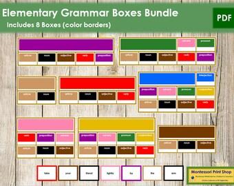 Montessori Elementary Grammar Boxes Bundle (color borders) - Language - Printable Montessori Cards - Digital Download