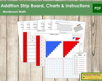 Addition Strip Board, Charts & Instructions - Primary Math - Printable Montessori Materials - Digital Download
