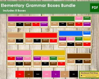 Montessori Elementary Grammar Boxes Bundle - Language - Printable Montessori Cards - Digital Download