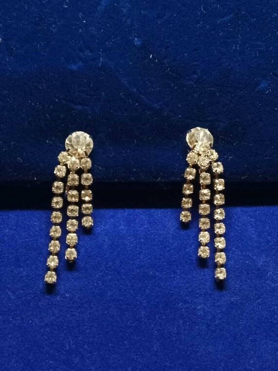 Vintage Clear Rhinestone Drop Dangle Clip-On Earri