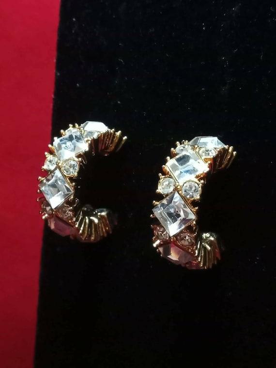 Vtg Half Crystals Petite Hoop Earrings 925 Sterling  Er 50 401742007700