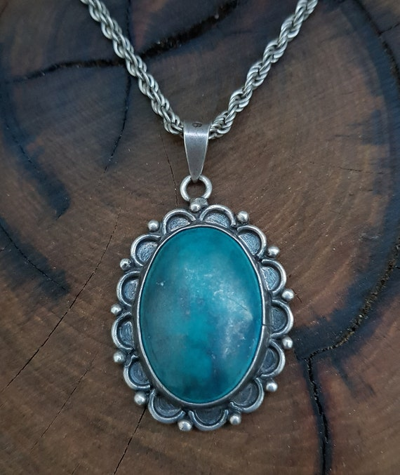 Silver Jewelry Necklace Gemstone Pendant Blue Aventurine Plain Bottle With 925 Sterling Silver Chain Jewelry
