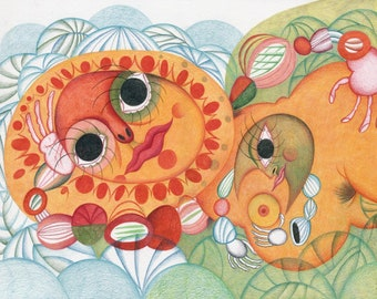 Sun and Her Third Husband – Original coloured pencil drawing