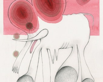 Elephant in the Room – Original watercolour and coloured pencil drawing