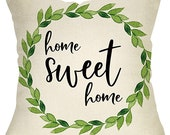 Home Sweet Home Green Olive Wreath Pillow Case Sign Decoration Vintage Farmhouse Decorative Throw Pillow Cover Cushion Case For Sofa Couch