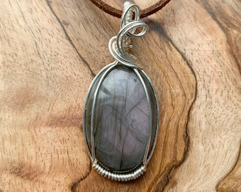 Labradorite Heart Crystal Pendant Wire Wrapped Silver Plated Copper Stone Faux Leather Chain