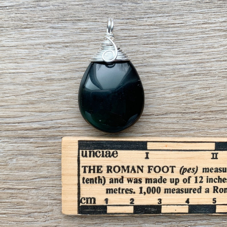 Black Obsidian Teardrop Crystal Necklace Stone Pendant Wire Wrapped Copper Faux Leather Black
