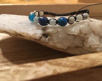 Macrame nylon bracelet with natural stone beads