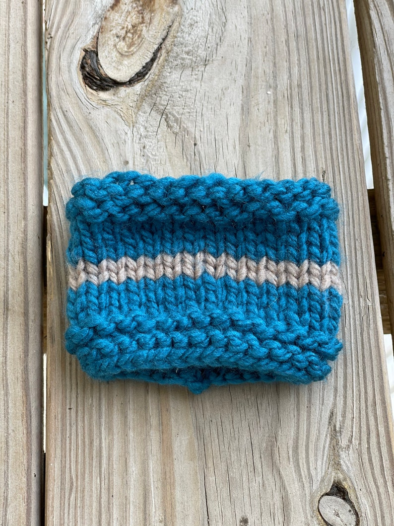 Teal Stripe Hand Knit Cup Cozy  Hand Made Coffee Accessory  Eco Friendly Coffee Sleeve