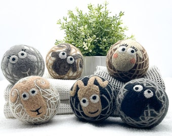 Fluff Ewes 100% Premium Wool Dryer Balls 3 for Darks & 3 for Lights (54 value) Laundry Natural Fabric Softener, Eco-Friendly