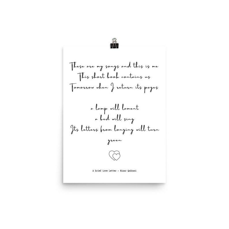 Ein kurzer Liebesbrief Nizar Qabbani Gedicht Poster | Etsy