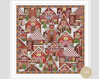 Patchwork Cross Stitch Christmas Town Simple Embroidery Modern Design Pillow Stitch PDF Counting Table Instant Download # 127