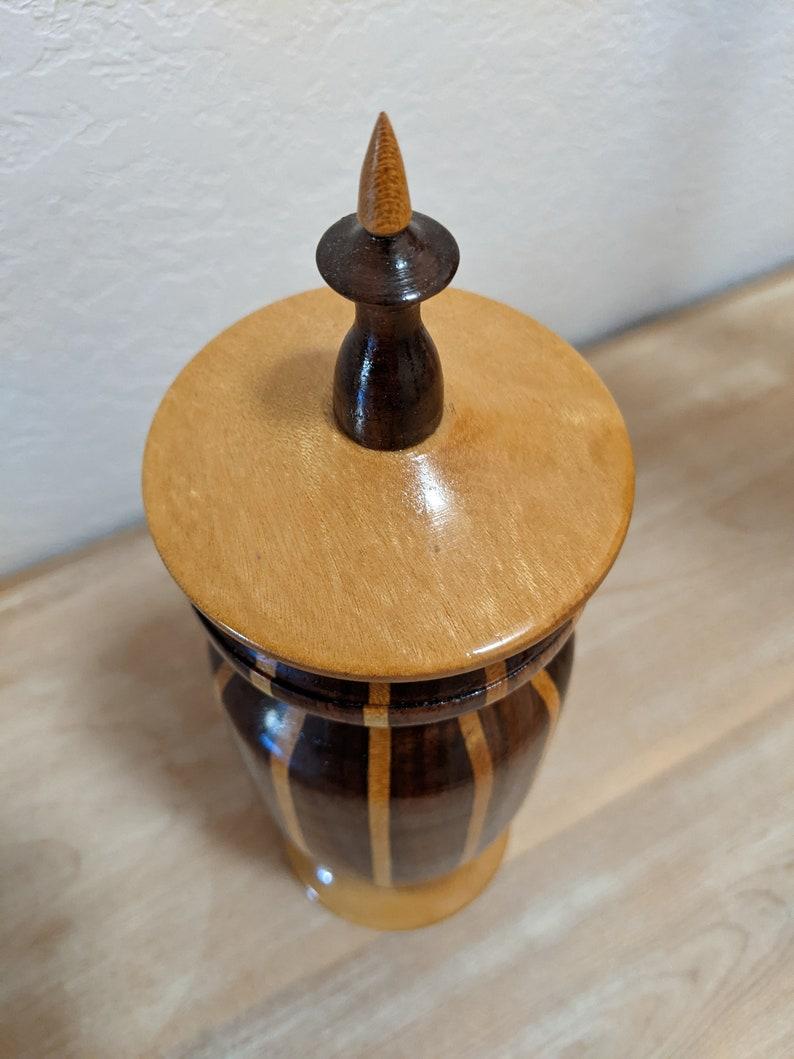 wooden jar vase container urn pinstripe exotic hardwood pet lover gift Pet Urn