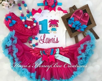 Trolls Poppy baby outfit Free shipping Branch Free headband bow Size 3-6m Onesie bodysuit and circle skirt