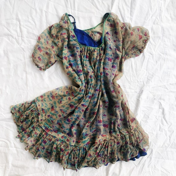 Gorgeous Floral 30s Sheer Dress & Matching Blue Sl