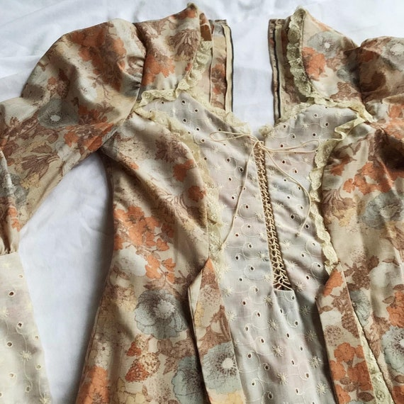 Orange Floral 1970s Prairie Dress With Lace Up Det