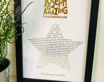 Real Foil Joseph and the amazing Technicolor Dreamcoat Lyric Print