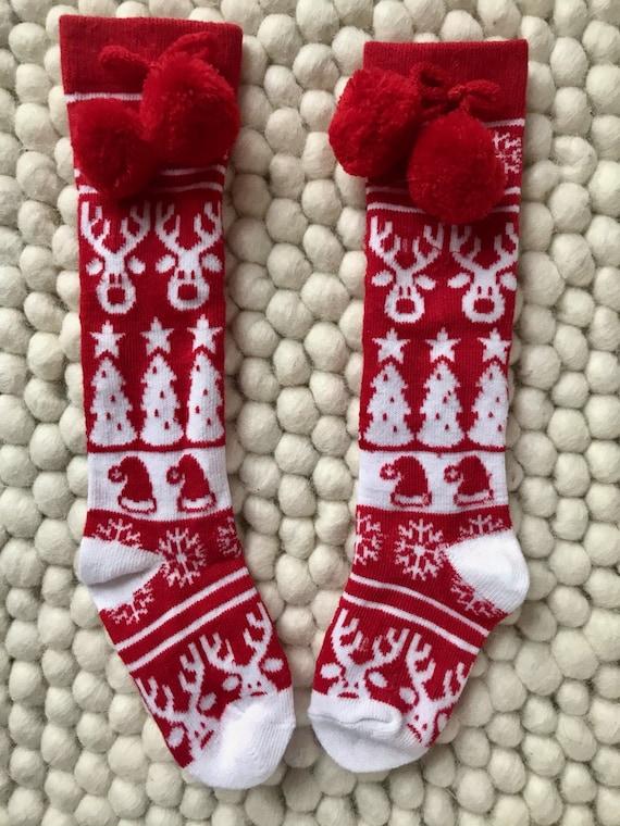 CHRISTMAS knee high socks 2T ready to ship