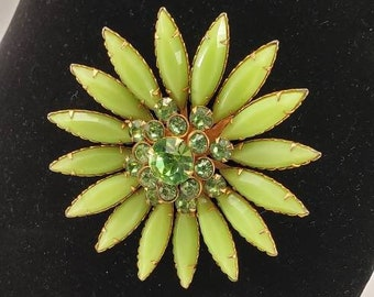 Vintage Unsigned Pin Brooch - Large Green and Gold Costume Jewelry Rhinestone Flower