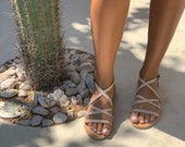 Leather sandals, Greek sandals, Nude Sandals, Beige sandals, Strap sandals, women sandals, boho sandals, handmade sandals, gift for her