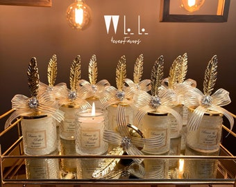 Personalised Wedding Party Thank you Candle Favor for Guests, Luxury Wedding Candle Favors, Elegant Candle in glass, Wedding Favor for Guest