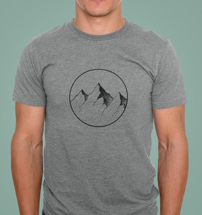 Bella and Canvas Shirt Simple Mountain Design T-Shirt Outdoor Adventure T-Shirt Gift for Men Women Geometric Mountain Design Tee