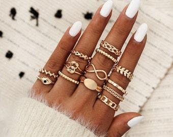 Dainty Rings Fashion Midi Ring Set Minimalist GoldSilver Ring 13 pcs Set Bohemian Ring Set Stackable Ring Set Indie Rings Gift boho