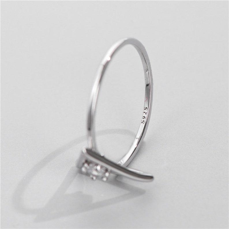 925 sterling Silver stackable Ring diamond triangle engagement tiny diamond ring band ring Bohemian Midi Ring Fashion Dainty Rings Gift boho