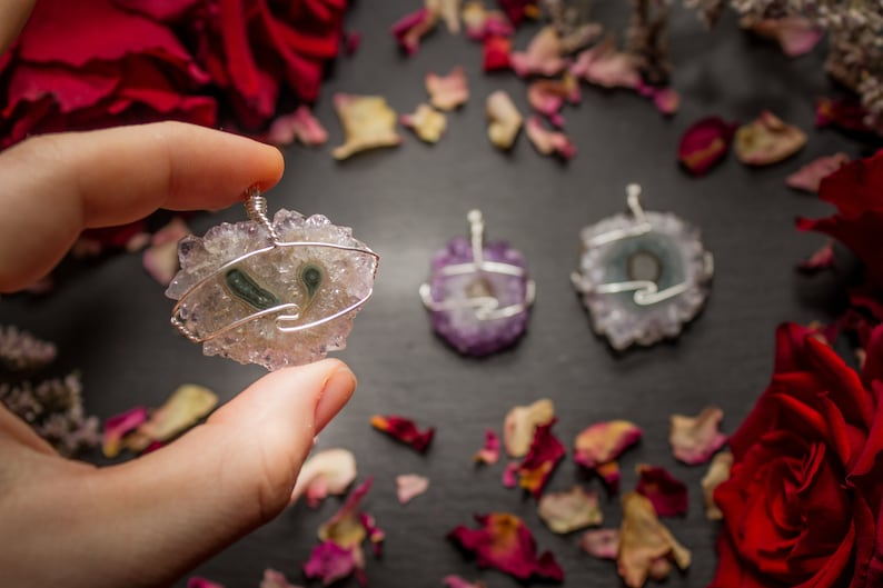 Crystal Jewellery Amethyst Stalactite Crystal Pendant Necklace Sterling Silver Wrapped Necklace
