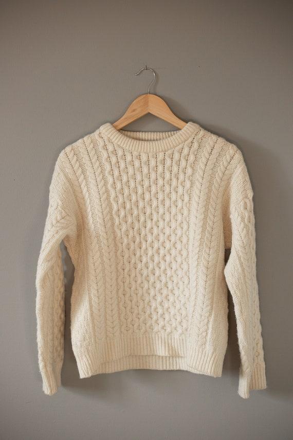 Cream Fishermans Sweater | Wool Aran Sweater | Woo