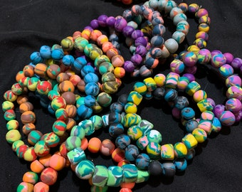 Handmade Beaded Polymer Clay Necklace Geometric Style Marble Effect Silicone Geometric Bead