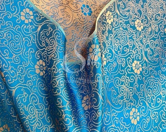 PURE MULBERRY SILK fabric by the yard - Natural silk - Luxury silk with design- Blue silk with flowers- Handmade in VietNam