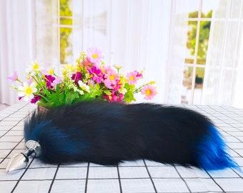 "Fox Tail Butt Plug, Faux Fur Tail Plug, Anal Plug, Sex and Cosplay Toys(17"" black blue )"