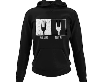 Stylish Hoodie for Women Motif Metal Plastic Sweater with Hood for Women in Black Black & Pink