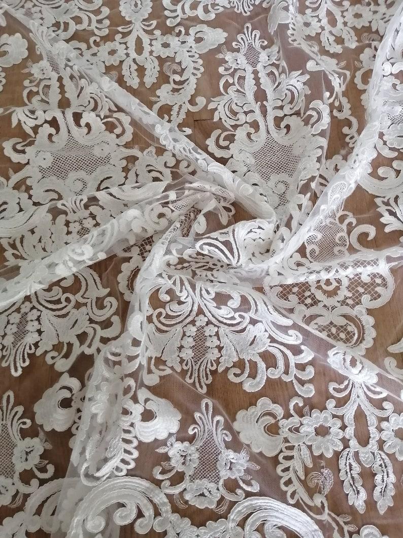 New Bridal Lace Fabric Dress Lace Fabric by the Yard White Lace Fabric Elegant Dress Fabric by the yard and 12 yard