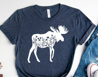 Floral Moose Shirt, Custom Family Camping Tshirt, Mountain Vacations, Wildlife Graphic, Kid's Sizes Too, Nature Lover Gifts, Animals Tee