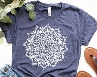 Mandala Lotus Shirt - Mandala Shirt - Lotus Shirt - Flower Shirt -Yoga Shirt - Minimalist Tee