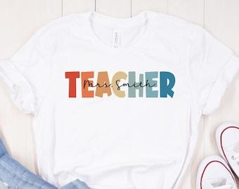 Customized Name Teacher Shirt, Personalized Name Teacher Shirt, Kindergarten Teacher Shirt, Elementary Teacher Shirt, Teacher Gift
