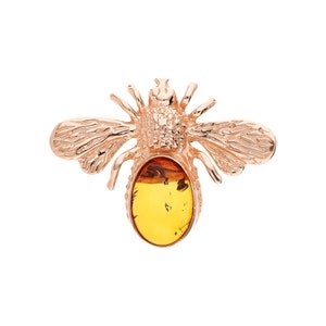 HandMade Silver Gift for Mom FREE SHIPPING Vintage Brooch 14K Gold Plated 925 Sterling Silver with Amber inserts Sister Wife