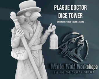 Plague Doctor Dice Tower   Tabletop RPG Gaming - Dungeons and Dragons, DnD, D&D, 5E, Pathfinder, Frostgrave, Warhammer 40k   Fates End