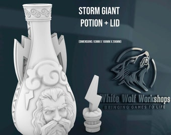 Storm Giant Potion with Lid   Dungeons & Dragons   Tabletop Gaming   Mythic Dice Box or Jail   Apothecary or Alchemist Cosplay   dnd   prop