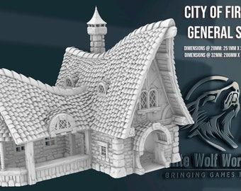 City of Firwood - General Store 28/32mm   3D Printed Tabletop Miniatures and Props   Dungeons and Dragons, DnD, D&D, Pathfinder, Warhammer