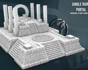 Jungle Ruins Portal 28/32mm   Dark Realms   3D Printed Tabletop Miniatures Props Dungeons and Dragons, DnD, D&D, Pathfinder, Warhammer