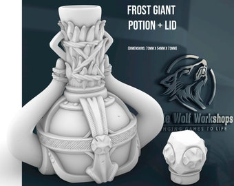 Frost Giant Potion with Lid   Dungeons & Dragons   Tabletop Gaming   Mythic Dice Box or Jail   Apothecary or Alchemist Cosplay   dnd   prop