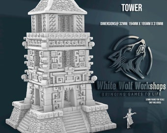 Jungle Ruins Tower 28/32mm   Dark Realms   3D Printed Tabletop Miniatures Props Dungeons and Dragons DnD D&D, Pathfinder, Warhammer