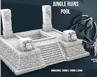 Jungle Ruins Cleansing Pool 28/32mm   Dark Realms   3D Printed Tabletop Miniatures Props Dungeons and Dragons DnD D&D, Pathfinder, Warhammer